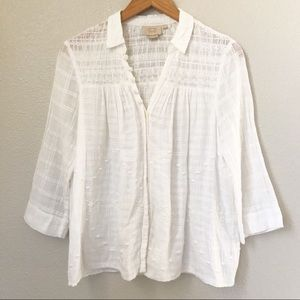 Anthropologie Embroidered Floral Botton Down